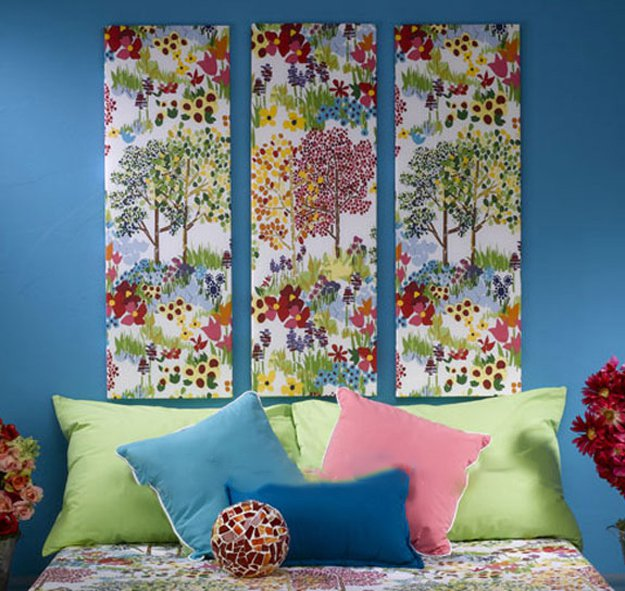 Quick easy fabric wall art home decor ideas diy ready for Fabric wall art