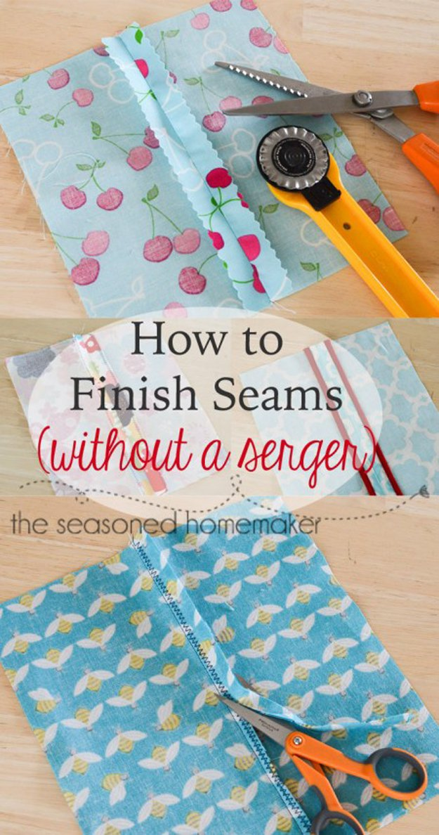 Use pinking shears or the zig zag stitch to finish a seam without a serger - this will save time and make life easier! | 25 More Sewing Hacks to Make Life Easier | Check them out at http://diyready.com/sewing-projects-life-hacks