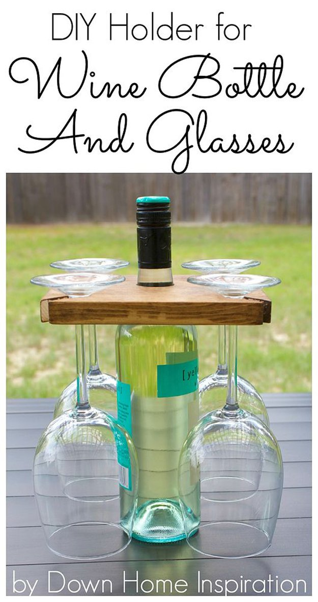 diy projects wine woodworking easy bottle glasses holder diyready crafts craft cool adults awesome rack fun via wood wooden simple
