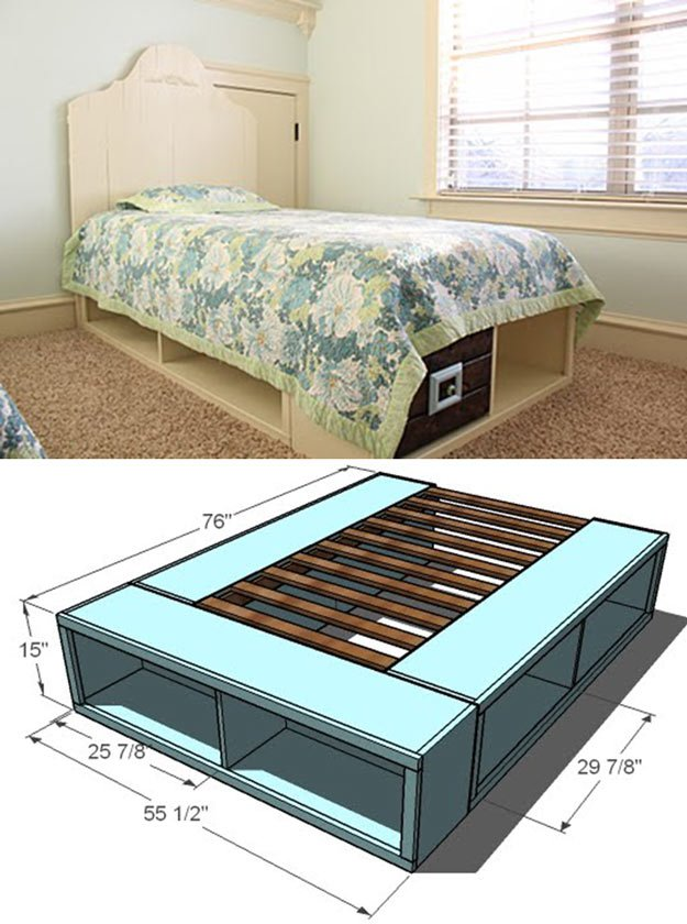 Platform Bed with Storage and Baskets