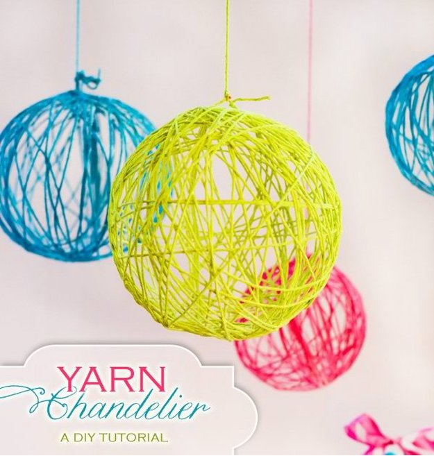 DIY Yarn Chandelier DIY Teen Room Decor Projects see more at  http wDSzKGU6