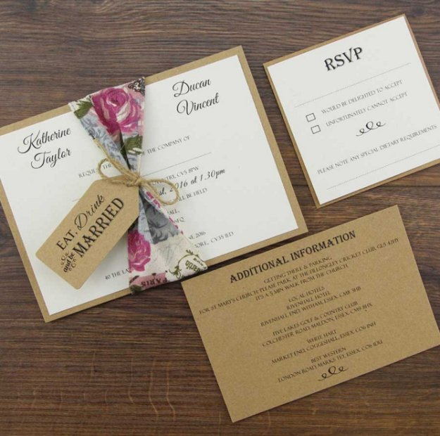 Charlotte parcel wedding invitation kit diy wedding invitation kits