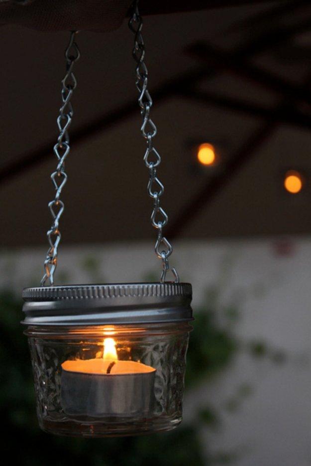 23 diy crafts with mini mason jars diy ready for Hanging candles diy